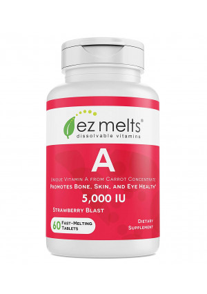 EZ Melts A as Retinol from Carrot Concentrate, 5,000 IU, Sublingual Vitamins, Vegan, Zero Sugar, Natural Strawberry Flavor, 60 Fast Dissolve Tablets