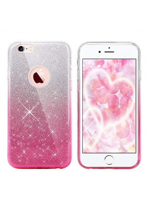 iPhone 8 Case, iPhone 7 case,Eraglow iPhone 7 8 Back Cover Shinning Protective Bumper Sparkle Bling Glitter Case for 4.7 inches iPhone 7/8 (Gradient-Pink)