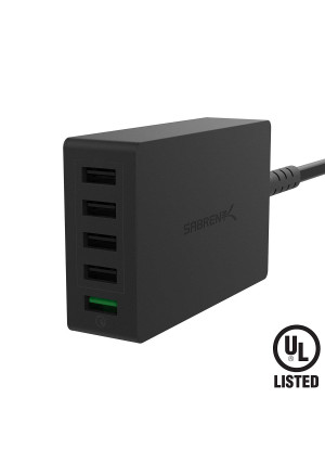 Sabrent Quick Charge 3.0 [UL Certified] 54W 5-Port Family-Sized Desktop USB Rapid Charger. Smart USB Charger with Auto Detect Technology [Black] (AX-QCS5)