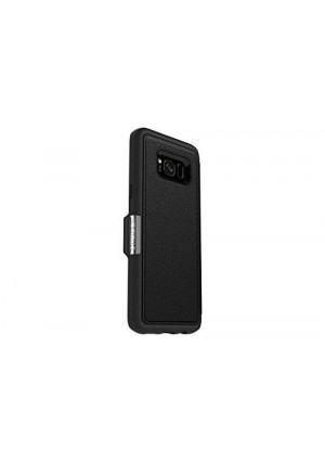 OtterBox Strada Series for Samsung Galaxy S8+ - Retail Packaging - Onyx (Black/Black Leather)