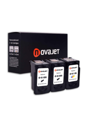 Novajet Remanufactured Ink Cartridge for Canon PG-210XL CL-211XL (2 Black,1 Color) for Canon PIXMA IP2700 IP2702 MP230 MP240 MP250 MP460 MP480 MP490 MP495 MX320 MX340 MX350 MX360 MX420 Show Ink Level