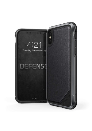 X-Doria iPhone X, iPhone Xs Case, Defense Lux Series - Military Grade  Drop Tested, Anodized Aluminum, TPU, and Polycarbonate Protective Case for Apple iPhone X, iPhone Xs, iPhone 10 (Black Leather)
