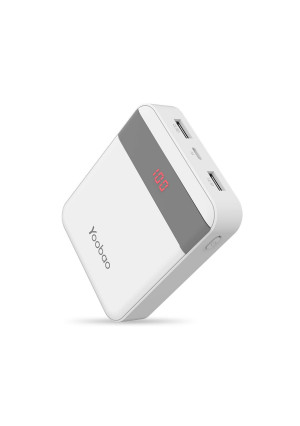 Power Bank 10000mAh Yoobao Compact Portable Charger External Cell Phone Battery Backup (LED Display, Dual Output, Dual Input) Compatible iPhone X 8 7 6 Plus Samsung Android Smartphone and More - White