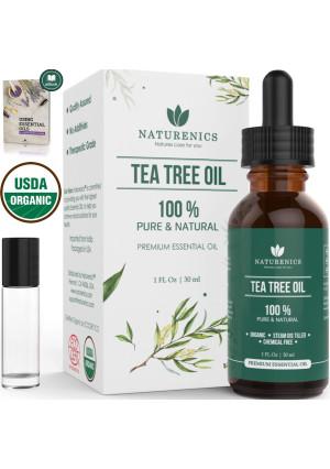 Naturenics Premium Organic Tea Tree Essential Oil - 100% Undiluted Pure USDA Certified Melaleuca Alternifolia Therapeutic Grade  - For Toenail Fungus and Acne Treatment - Roll On and eBook