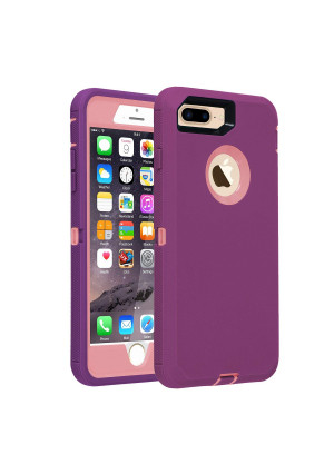 Phone Case for iPhone 7 Plus/8 Plus Heavy Duty Armor 3 in 1 Built-in Screen Protector Rugged Cover Dust-Proof Shockproof Drop-Proof Scratch-Resistant Shell Compatible with Apple iPhone 7+/8+,Purple