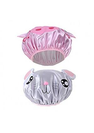 2 Pieces Cute Kids Shower Cap, Funny Cartoon Bath Hat,Boys or Girls Waterproof Shower Bath Caps (Gray Mouse + Pink Pig)