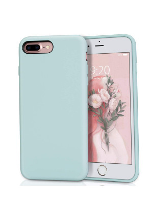 MILPROX Silicone Case, Pretty Series Liquid Silicone Gel Rubber, Shockproof Case Microfiber Cloth Lining Cushion Compatible iPhone 7 Plus/8 Plus - Mint