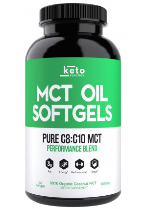KETO Function MCT Oil Capsules - 240 Organic C8 MCT Pills from Pure Coconut Oil - The Perfect Keto Diet Pill - Easy to Digest 1000mg Softgels to Fuel Energy, Brain Support, Weight Loss and Ketones Now