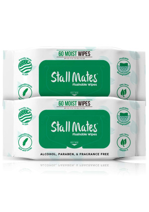 Stall Mates 60-Wipe Home Pack: Flushable and Hypoallergenic Moist Wipes Made in The USA. Unscented with Vitamin-E and Aloe, 100% Biodegradable (2 Pack)