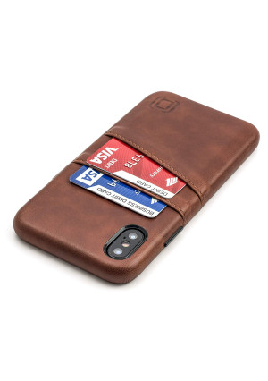 Dockem Exec Wallet Case for iPhone X; Slim Vintage Synthetic Leather Card Case with 2 Card/ID Holder Slots, Simple Professional Executive Snap On Cover [Brown]