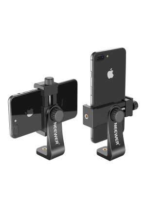 Neewer Smartphone Holder Vertical Bracket with 1/4-inch Tripod Mount - Phone Clip Tripod Adapter for iPhone Xs MAX/XS/ XR/X/ 8, Samsung S9+/ S9/ S8 and Other Phones Within 1.9-3.9 inches Width