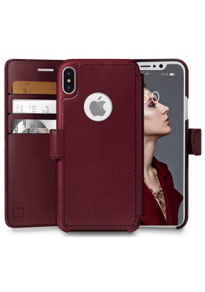 LUPA iPhone Xs Wallet case, iPhone X Wallet Case, Durable and Slim, Lightweight with Classic Design and Ultra-Strong Magnetic Closure, Faux Leather, Burgundy, for Apple iPhone Xs/X