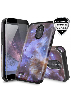 LG Stylo 3 Case, for LG Stylo 3 Plus Case, with TJS [Full Coverage Tempered Glass Screen Protector] Ultra Thin Slim Hybrid Shockproof Drop Protection Impact Rugged Case Armor Cover (Stardust)