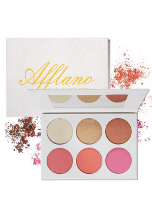 Blusher and Illuminator Highlighter and Bronzer Powder Contour Collection Set - 3 Blusher and 3 Highlighter Powder Palette - Perfect for Contouring and Highlighting - Vegan and Cruelty Free
