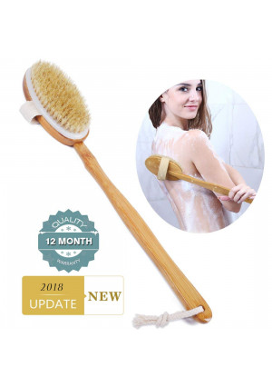 Shower Brush Bath and Dry Skin Body Brushing with Long Bamboo Detachable Hand and Soft Boar Bristle for Back Scrubber-by Ecobambu
