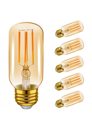 Emotionlite LED Light Bulbs, E26 Dimmable Vintage Edison Tubular Bulb, 40W Equivalent, 2200K Amber, 4W, 300LM, Medium Base, UL Listed, 6 Pack