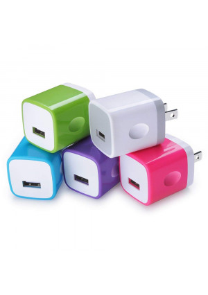 USB Wall Charger, Sicodo 5-Pack Universal 1A Home Travel Quick Wall Plug Charger Cubes Compatible with iPhone 8, 7 Plus, 6, Tablet, Samsung Galaxy S8 Plus, S7 Edge, HTC, Nokia, LG, Sony and More