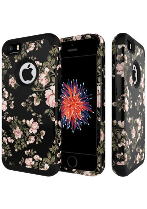 iPhone SE Case,iPhone 5S Case,iPhone 5C Case,SLMY(TM) Heavy Duty Shock Resistant Hybrid Soft Silicone Hard PC Cover Case for iPhone 5/5S/SE/5C-Flowers Black