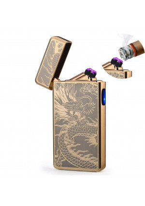 Dual Arc Plasma Lighter USB Rechargeable Windproof Flameless Butane Free Electric Lighter for Cigar,Cigarette,Candle (Gold Dragon)