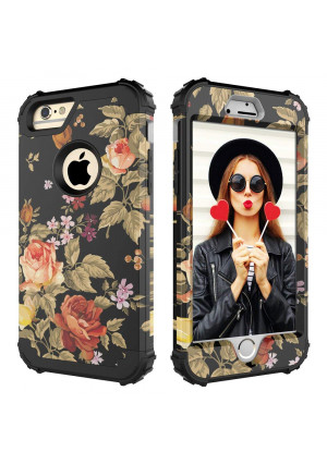 iPhone 6 Case,iPhone 6S Case,Digital Hutty 3 in 1 Shockproof Heavy Duty Full-Body Protective Cover for Apple iPhone 6,iPhone 6S Flower