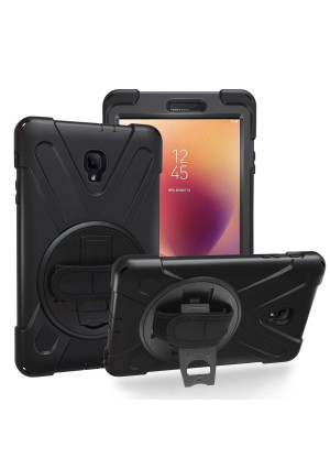Samsung Galaxy Tab A 8.0 2017 Case, Heavy Duty Hybrid Shockproof Protection Cover Built with Kickstand and Hand Strap for Samsung Galaxy Tab A 8.0 (SM-T380/T385) 2017 Release (Black)