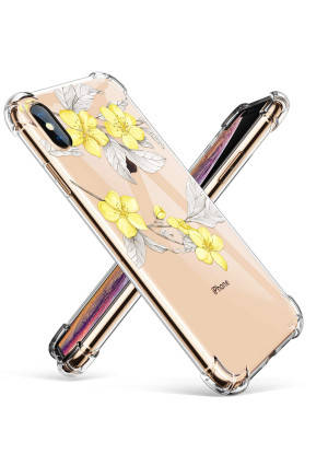 GVIEWIN Clear Case for iPhone Xs Case/iPhone X Case, Flower Pattern Design Soft and Flexible TPU Ultra-Thin Shockproof Transparent Women Floral Cover, Cases for iPhone Xs/X(5.8-Inch) - Yellow Flowers
