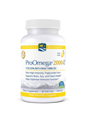 Nordic Naturals ProOmega 2000-D - Fish Oil, 1125 mg EPA, 875 mg DHA, 1000 IU Vitamin D3, High-Intensity Support for Cardiovascular, Neurological, Eye, and Immune Health*, Lemon Flavor, 60 Soft Gels
