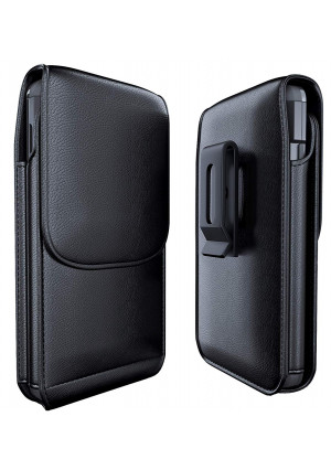 Meilib Galaxy S9 Plus Belt Case Galaxy S8 Plus Belt Clip Case - Leather Pouch Holster Case with ID Card Holder for Samsung Galaxy S9+ Plus/S8+ Plus (Fits Phone w/Other Cover Case On) Black