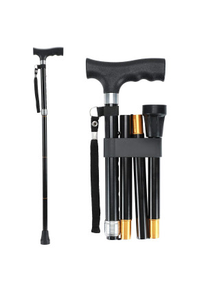 "Saymeto Folding Cane, Lightweight Walking Cane for Men and Women and Ladies, Adjustable Walking Stick Mobility Aid, Comfortable Handles, Black (30-35"")"