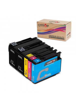 5 Packs CMTOP 932XL 933XL Ink Compatible for HP 932 933 XL 932XL 933XL Ink Cartridges, High Yield, Work with HP Officejet 6600 6700 6100 7612 7610 7110 Printers (2 Black 1 Cyan 1 Magenta 1 Yellow)