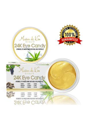 (30 Pairs) 24K Gold Eye Masks   Seaweed, Real Gold Particles, Aloe Leaf Juice, Caffeine, Collagen, Hyaluronic Acid   Luxury Anti-Aging Eye Treatment for Eye Wrinkles, Puffy Eyes, Dark Circles