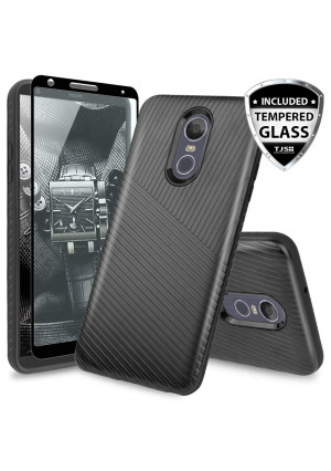 TJS LG Stylo 4 2018 / LG Stylo 4 Plus/LG Q Stylus Case [Full Coverage Tempered Glass Screen Protector] Hybrid Shock Absorbing Resistant Case Textured Embossed Lines Hard Plastic PC TPU (Black)