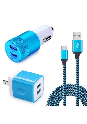 USB Type C Car Charger, HUHUTA 2.1A Dual Port USB Wall Charger with 6FT Nylon Braided USB C Cord Compatible Samsung Galaxy S9 S8 S8 Plus, Note 8, LG V30 V20 G7 G6 G5, HTC 10 U11 Bolt Ultra and More
