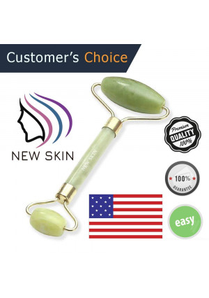 NewSkin Jade Roller for Face Massager Anti Aging Facial Therapy - Premium Real 100% Natural Jade Stone - Handmade - Anti Wrinkle and Skin Rejuvenate