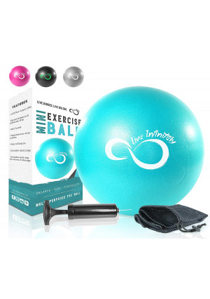 Live Infinitely Pro Grade  9 Inch Mini Exercise Pilates Ball with Pump for Home Exercise, Balance Training, Yoga and Barre Workout  Includes Hand Pump, Needle Valve and Mesh Carrying Bag