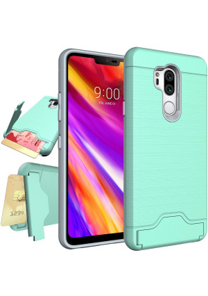 LG G7 Case,LG G7 ThinQ Case,NiuBox Armor [Card Slot Wallet] [Kickstand] Full Body Shock Absorption Protective Phone Case Cover for LG G7 Thinq (2018 Verizon) Turquoise