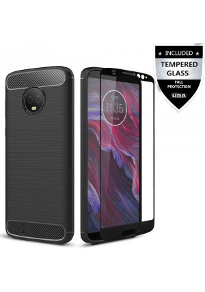 Moto G6 Case with Tempered Glass Screen Protector,IDEA LINE Shockproof Slim Fit Lined Brushed with Carbon Fiber for Motorola Moto G (6th Generation) - Black