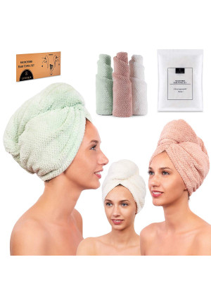 Microfiber Hair Towel for Women - Drying Twist Wrap for Curly, Long, Thin or Short Hair  Ultra Absorbent and Anti Frizz Turban for Sleeping and Showering  3 Pack (Ivory/Pink/Green)