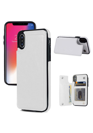 iphone X Wallet Case, iphone X Case with Card Holder, JOYAKI iphone X Slim Leather Case with Credit Card Holder Shockproof Protective Case with a Free Screen Protector For iPhone X 5.8 inch-White