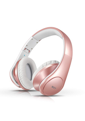 Bluetooth Headphones Over Ear, WXY Foldable Wireless Wired Bluetooth 4.2 Headphones Microphone, on Headsets Volume Control Kids Women in Cell Phones iPhone TV PC, Rose Gold