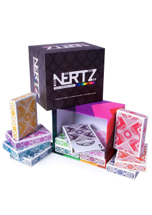 Nertz: The Fast Frenzied Fun Card Game - 12 Decks of Playing Cards in 12 Vibrant Colors, Bulk Set of Poker Wide-Size/Regular Index, Plastic-Coated Cards by Brybelly
