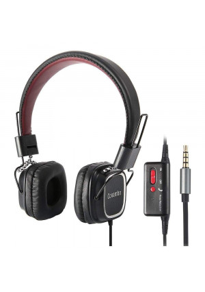 Conambo CQ4 Active Noise Cancelling Headphones, On Ear Wired Headphones w/Mic, Foldable, Strong Bass, Lightweight Superior Comfort for Airplane Travel, Office