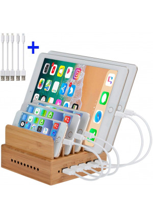 InkoTimes Bamboo Charging Station - Fast USB Charging Station for Multiple Devices - Perfect for Smart Phone Phone X Pad Tablets Home Family Office or Gift Giving (5 Pack Cables Included)