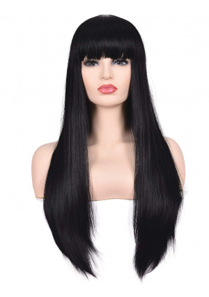 """Morvally Women's 26"""" Long Straight Black Synthetic Resistant Hair Wigs with Bangs Natural Looking Wig for Women Halloween Cosplay"""