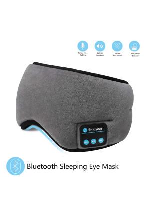 Bluetooth Sleeping Eye Mask Headphones,SKYEOL 4.2 Wireless Bluetooth Headphones AdjustableandWashable Music Travel Sleeping Headset with Built-in Speakers Microphone Hands-Free for Sleeping (Grey)