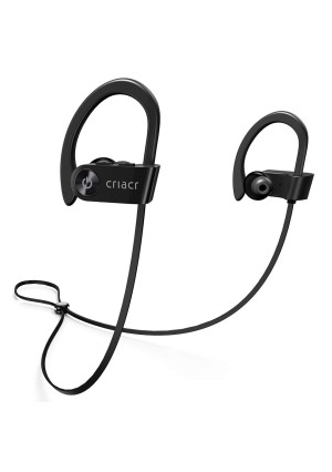 Criacr Bluetooth Headphones, Wireless Sports Earphone with Hi-Fi Stereo Sound, 9 Hrs Playing Noise Cancelling Headsets, Built-in Microphone, IPX7 Waterproof and Sweatproof Earbuds for Running Exercising