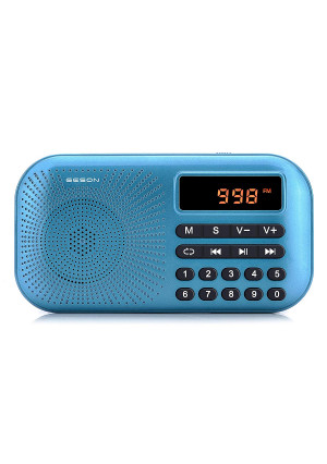 Portable AM FM Radio, Geson Mini Music Radio Player Support Micro SD Card/USB Disk with LED Screen Display (Blue)