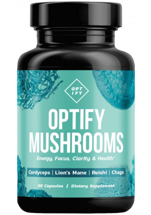 New! OPTIFY Mushroom Supplement - Lions Mane, Cordyceps, Reishi and Chaga Capsules - Nootropic Brain Supplement and Immune System Booster for Natural Energy, Focus, Memory, Clarity and Wellness