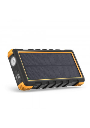 Solar Portable Charger RAVPower 25000mAh Power Bank with Micro USB and USB C Inputs, Quick Charge Solar Phone Charger with 3 Outputs, External Battery Pack with Flashlight - Shock, Dust and Waterproof