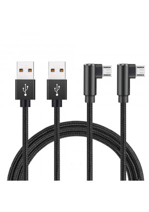 Hi-Mobiler 90 Degree Micro USB 10ft, Fast Charger Micro USB, Long Android Charger Cable Compatible Samsung Galaxy S3/S4/S5/S6/S6 Edge/S7/S7 Edge Sony, LG, HTC, Nexus, Kindle, PS4 (10ft,Black)